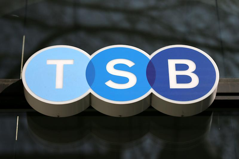 "A general view of the sign outside a TSB branch in Holborn is seen as the bank accepted a 1.7 billion-pound ($2.6 billion) cash offer from Spain's Banco Sabadell, in London, Friday, March 20, 2015. Barcelona-based Sabadell said it was attracted by a UK banking market with ""a well-defined and stable regulatory framework, consistent profitability and good future growth prospects."". (AP Photo/Tim Ireland)"