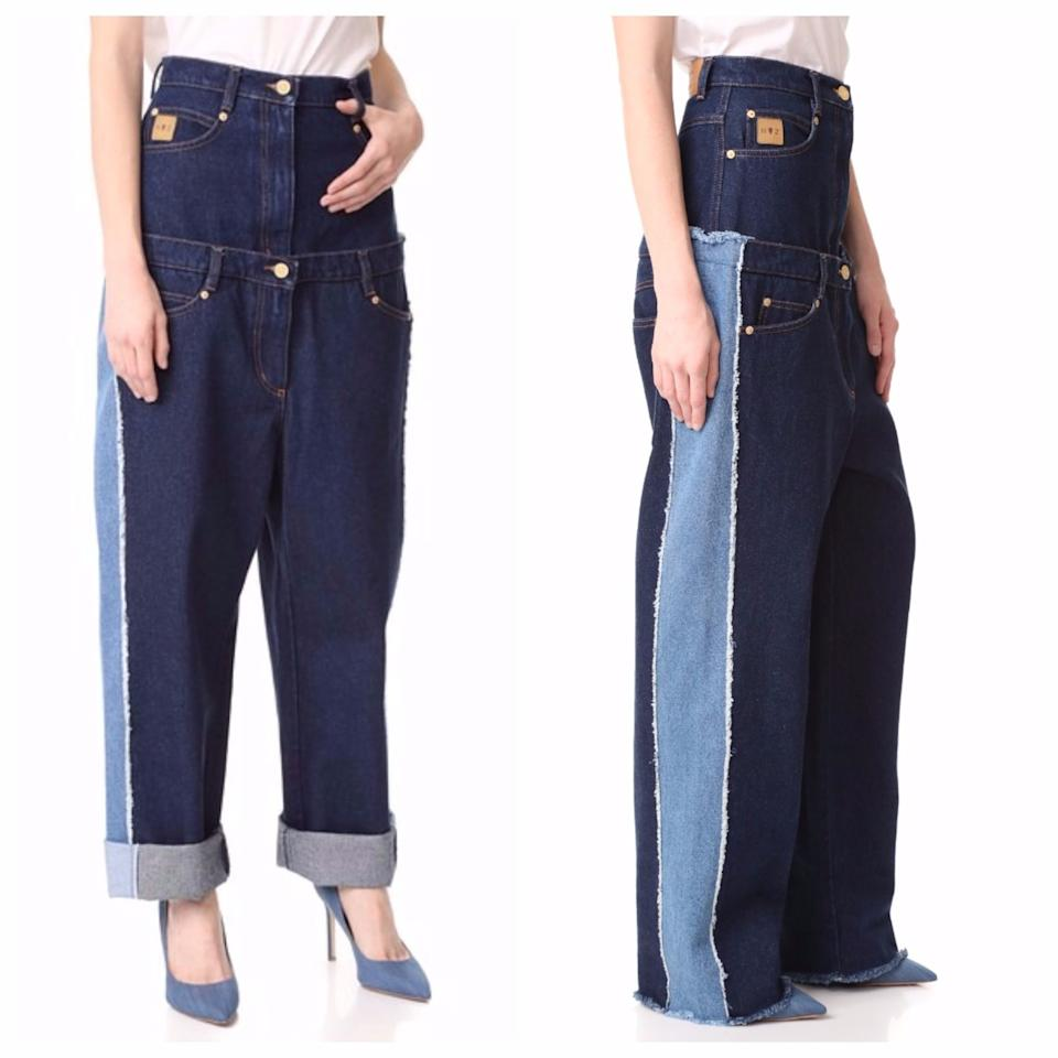 """<p>London-based up-and-comer Natasha Zinko has taken the biscuit with her interpretation of double denim. The bizarre high-waisted double jeans handily feature seven pockets. Unfortunately, they're currently <a rel=""""nofollow"""" href=""""https://www.shopbop.com/waist-double-jeans-natasha-zinko/vp/v=1/1557538904.htm?extid=affprg_linkshare_SB-TnL5HPStwNw&cvosrc=affiliate.linkshare.TnL5HPStwNw&extid=affprg_linkshare_SB-TnL5HPStwNw&cvosrc=affiliate.linkshare.TnL5HPStwNw"""">sold out</a>.<br /><i>[Photo: Shopbop]</i> </p>"""
