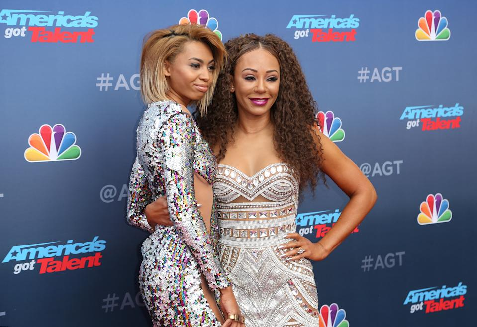 """Phoenix Chi Gulzar, left, and her mother Mel B arrive at the """"America's Got Talent"""" Season 13 Kick-Off at the Pasadena Civic Auditorium on Monday, March 12, 2018, in Pasadena, Calif. (Photo by Willy Sanjuan/Invision/AP)"""