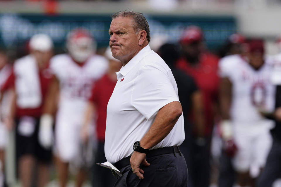 Arkansas head coach Sam Pittman paces the sideline during the first half of an NCAA college football game against Georgia Saturday, Oct. 2, 2021, in Athens, Ga. (AP Photo/John Bazemore)