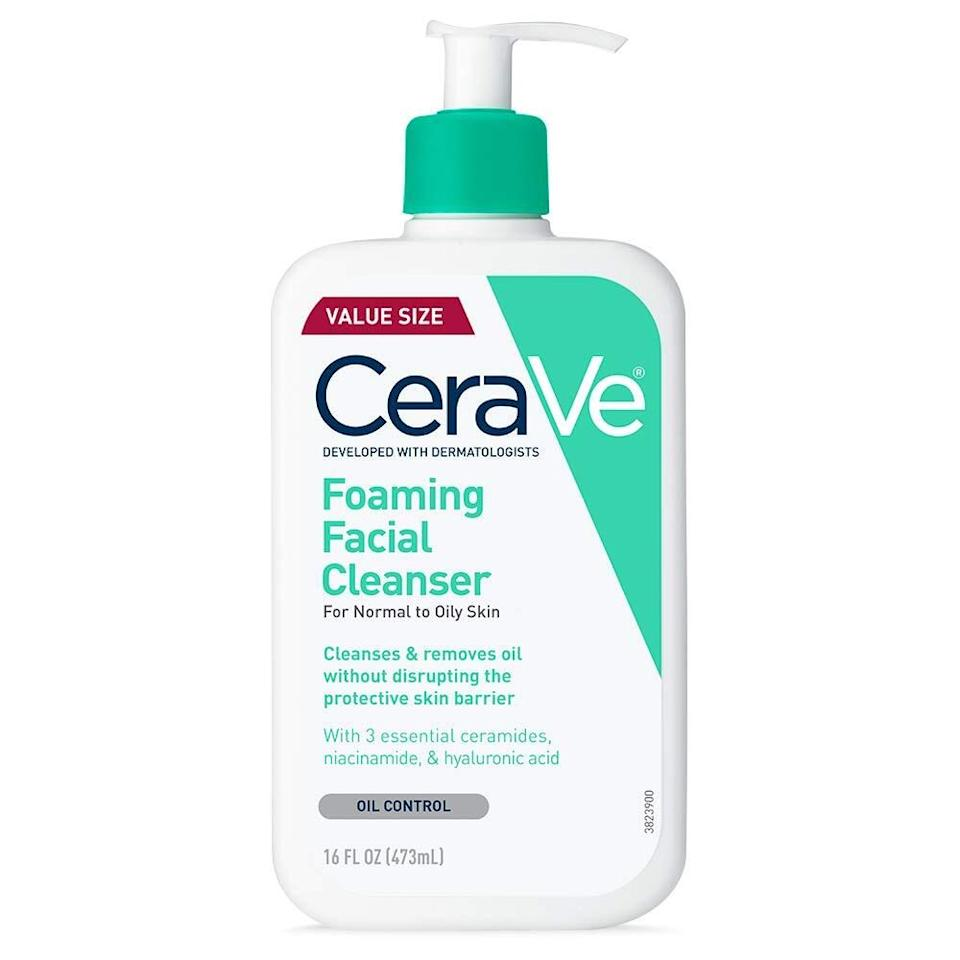"""Use this gentle foaming cleanser to remove dirt, makeup and oil from your face. Packed with essential ceramides, hyaluronic acid and niacinamide, it'll help get your complexion clean without damaging the protective skin barrier.<br /><br /><strong>Promising review:</strong>""""I bought this product on accident (I meant to get the<a href=""""https://amzn.to/32CI45p"""" target=""""_blank"""" rel=""""nofollow noopener noreferrer"""" data-skimlinks-tracking=""""5909265"""" data-vars-affiliate=""""Amazon"""" data-vars-asin=""""B08GYYQ5MB"""" data-vars-href=""""https://www.amazon.com/dp/B08GYYQ5MB?tag=bfmelanie-20&ascsubtag=5909265%2C2%2C36%2Cmobile_web%2C0%2C0%2C16567504"""" data-vars-keywords=""""cleaning"""" data-vars-link-id=""""16567504"""" data-vars-price="""""""" data-vars-product-id=""""20142466"""" data-vars-product-img=""""https://m.media-amazon.com/images/I/41IBVwtsz0L._SL500_.jpg"""" data-vars-product-title=""""Cetaphil Daily Facial Cleanser for Normal To Oily Skin, 20 Fl Oz"""" data-vars-retailers=""""Amazon"""">Cetaphil facial cleanser</a>) but I don't regret it.<strong>My skin has cleared up so much just from this soap. It makes my face feel soft and doesn't dry it out when I follow up with my serum or rosewater, and my moisturizer. My face feels refreshed and clean.</strong>"""" —<a href=""""https://amzn.to/3dEM23D"""" target=""""_blank"""" rel=""""nofollow noopener noreferrer"""" data-skimlinks-tracking=""""5909265"""" data-vars-affiliate=""""Amazon"""" data-vars-href=""""https://www.amazon.com/gp/customer-reviews/RKCGATTXCEEF2?tag=bfmelanie-20&ascsubtag=5909265%2C2%2C36%2Cmobile_web%2C0%2C0%2C16567503"""" data-vars-keywords=""""cleaning"""" data-vars-link-id=""""16567503"""" data-vars-price="""""""" data-vars-product-id=""""21055226"""" data-vars-product-img="""""""" data-vars-product-title="""""""" data-vars-retailers=""""Amazon"""">Micah</a><br /><br /><strong>Get it from Amazon for <a href=""""https://amzn.to/3sNfKb0"""" target=""""_blank"""" rel=""""noopener noreferrer"""">$14.99+</a> (available in two sizes).</strong>"""