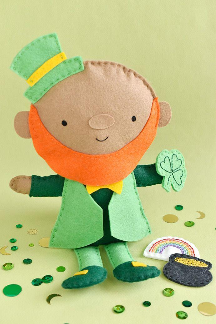 """<p>A printable template helps make this little fella easier to craft than he looks. For non-sewers, there's also an option in this tutorial that includes more glueing and less stitching.</p><p><strong>Get the tutorial at <a href=""""https://www.handmadecharlotte.com/make-felt-leprechaun-doll/"""" rel=""""nofollow noopener"""" target=""""_blank"""" data-ylk=""""slk:Handmade Charlotte"""" class=""""link rapid-noclick-resp"""">Handmade Charlotte</a>.</strong></p><p><a class=""""link rapid-noclick-resp"""" href=""""https://www.amazon.com/embroidery-floss/b?ie=UTF8&node=8090727011&tag=syn-yahoo-20&ascsubtag=%5Bartid%7C2164.g.35012898%5Bsrc%7Cyahoo-us"""" rel=""""nofollow noopener"""" target=""""_blank"""" data-ylk=""""slk:SHOP EMBROIDERY FLOSS"""">SHOP EMBROIDERY FLOSS</a><br></p>"""