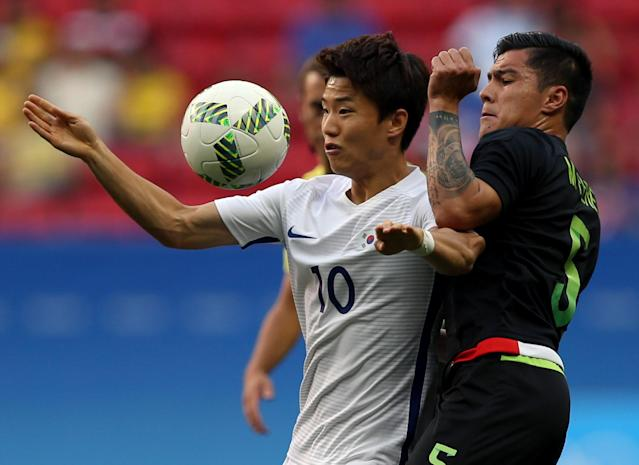 2016 Rio Olympics - Soccer - Preliminary - Men's First Round - Group C South Korea v Mexico - Mane Garrincha Stadium - Brasilia, Brazil - 10/08/2016. Seungwoo Ryu (KOR) of Republic of Korea and Michael Perez (MEX) of Mexico in action. REUTERS/Ueslei Marcelino FOR EDITORIAL USE ONLY. NOT FOR SALE FOR MARKETING OR ADVERTISING CAMPAIGNS.