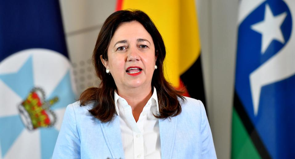 Queensland Premier Annastacia Palaszczuk is seen during a press conference in Brisbane, Saturday, January 9, 2021