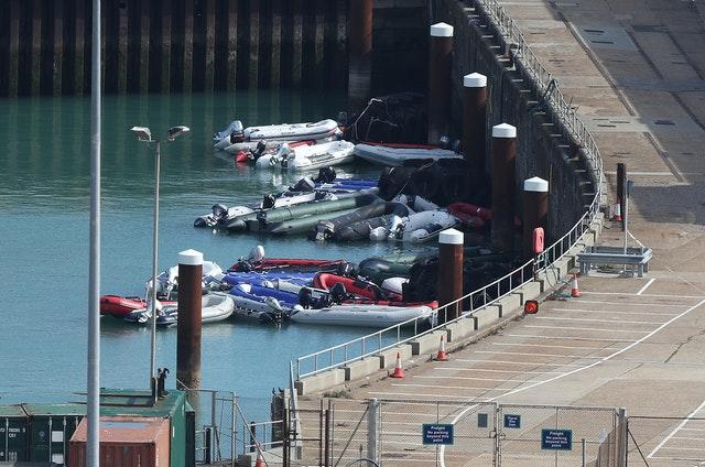 Dinghies and Ribs are moored up at Dover harbour