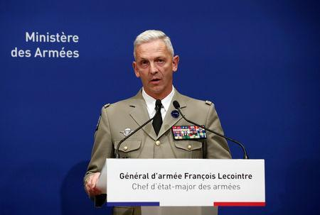 Chief of the Defense Staff of the French Army General Lecointre takes part in a news conference after two French soldiers were killed in a rescue operation of four hostages in Burkina Faso, at the headquarters of the French Armed Forces in Paris, France, May 10, 2019. REUTERS/Benoit Tessier