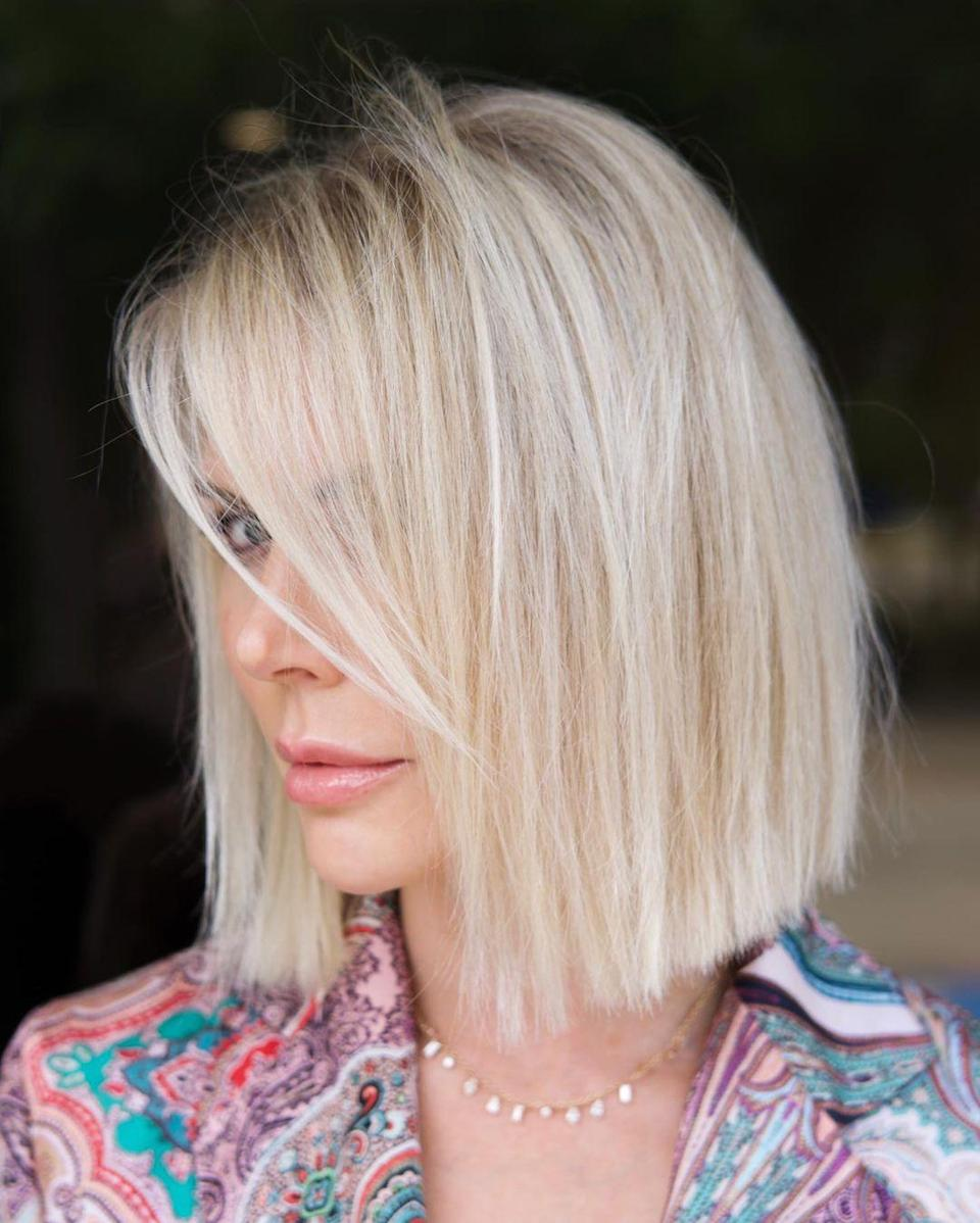 <p>If you're looking to make the switch from long to short hair, this is the style for you. A blunt cut with subtle face framing breaks up the linear look around the face, Chris Jones, a Texas-based hair stylist and owner of Salon Bugatti, says. Hidden texture in the cut also helps to give movement and body to this look.</p>