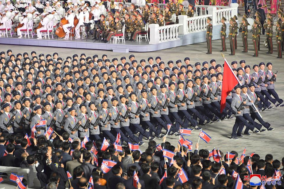 North Korean troops during the parade.