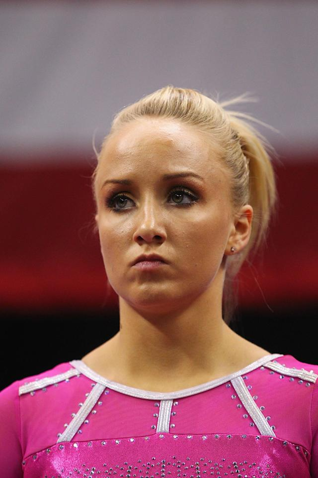 ST. LOUIS, MO - JUNE 8: Nastia Liukin is introduced prior to competing on the balance bar during the Senior Women's competition on day two of the Visa Championships at Chaifetz Arena on June 8, 2012 in St. Louis, Missouri. (Photo by Dilip Vishwanat/Getty Images)