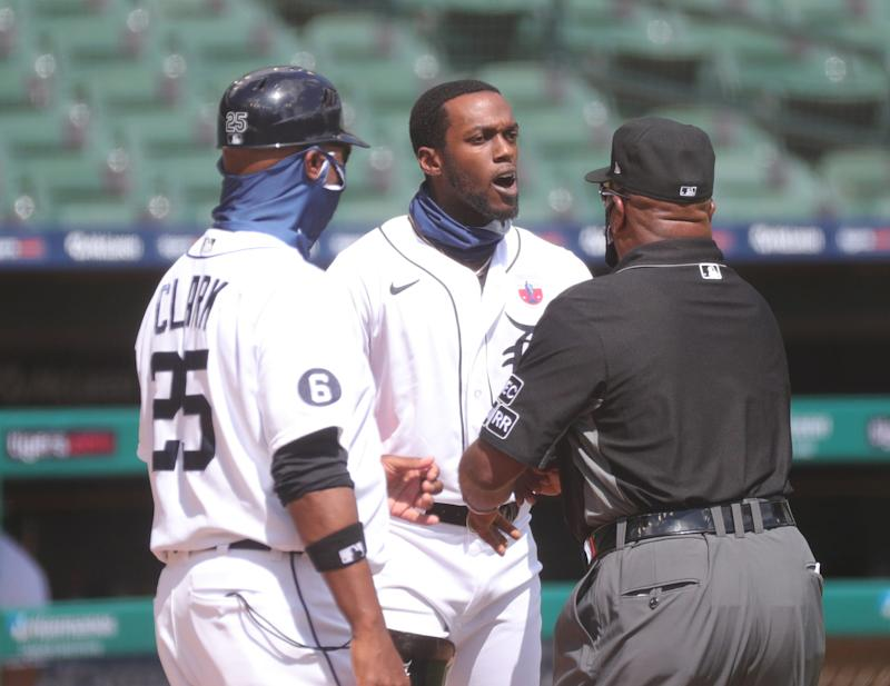 Detroit Tigers left fielder Cameron Maybin is ejected by home-plate umpire D.J. Reyburn during sixth-inning action against the Cleveland Indians at Comerica Park, Sunday, Aug. 16, 2020.