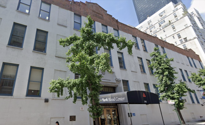 The organization will need zoning approvals to demolish its current three-story brick building at 310 East 67th St., which was built in 1930, and which the Blood Center says has physical limitations that prevent it from expanding key research programs. (Google Maps)
