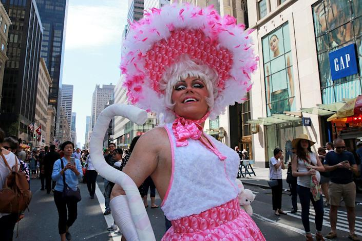 """<p>A parade participant dressed as """"Little Bo Peep"""" poses for a photo during the 2017 New York City Easter Parade on April 16, 2017. (Photo: Gordon Donovan/Yahoo News) </p>"""
