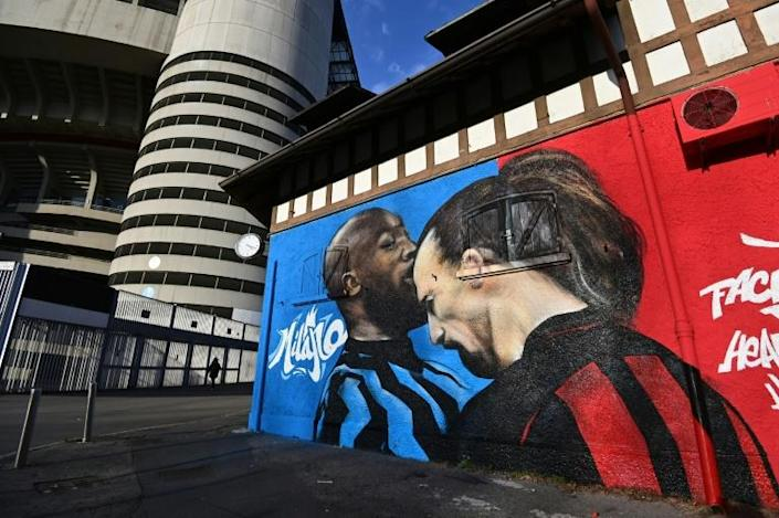 A mural of Lukaku and Ibrahimovic's recent clash has appeared on a wall outside San Siro, just as Inter and AC Milan prepare to clash in the derby