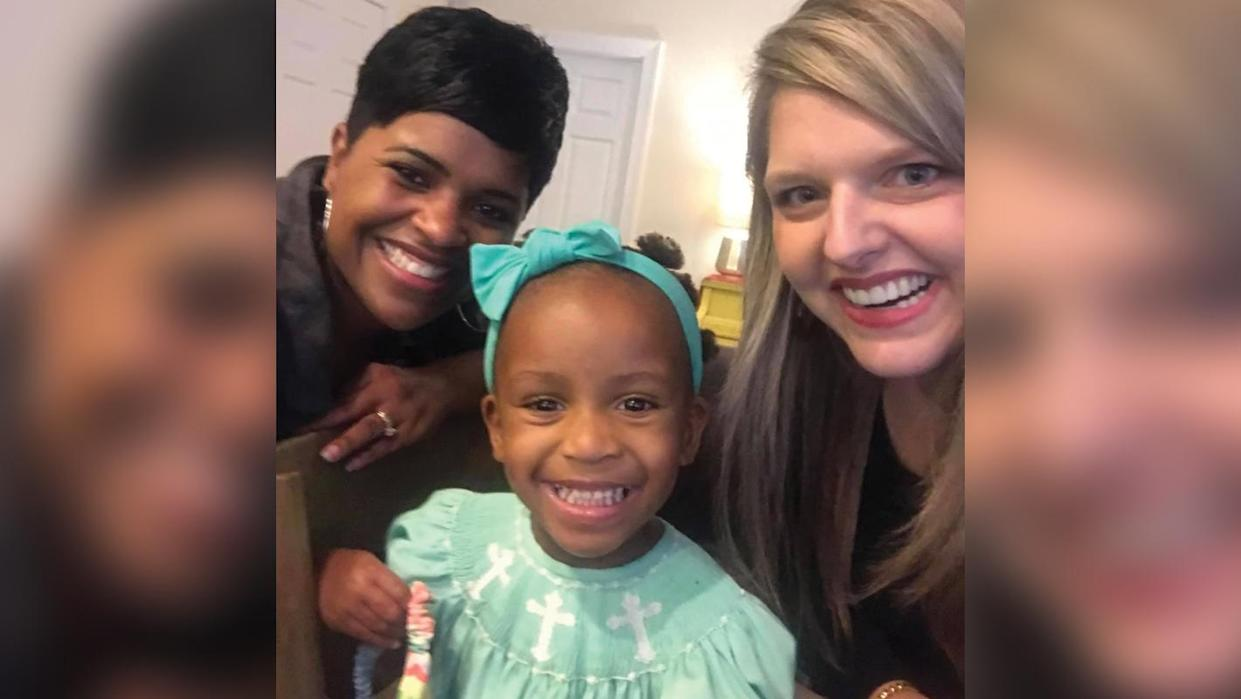 Monica Hunter, little Haley and mom Stephanie Hollifield after a successful styling session. (Photo: Facebook/Stephanie Hollifield)