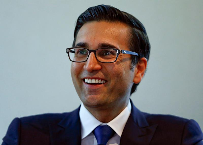 """Iqbal Khan, CEO International Wealth Management of Swiss bank Credit Suisse, smiles as he speaks during """"The Wealth Management Industry - Into the next decade"""" at the Reuters Global Wealth Management Summit, Park Hyatt hotel, Zurich Switzerland, June 13, 2016. REUTERS/Arnd Wiegmann"""