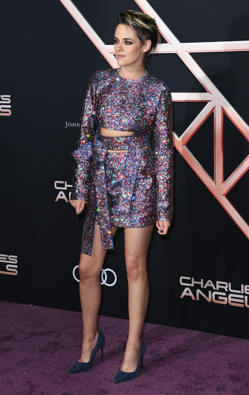 "LOS ANGELES, CALIFORNIA - NOVEMBER 11: Kristen Stewart attends the premiere of Columbia Pictures' ""Charlie's Angels"" at Westwood Regency Theater on November 11, 2019 in Los Angeles, California. (Photo by Jon Kopaloff/Getty Images)"