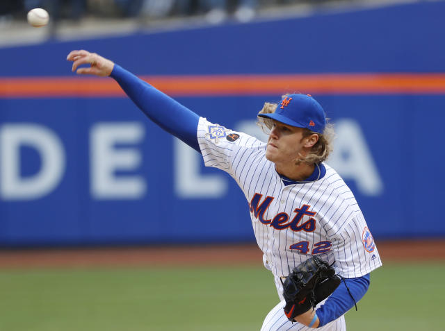 It was a Noah Syndergaard pitch that ultimately led to the @PitchingNinja account being suspended. (AP)