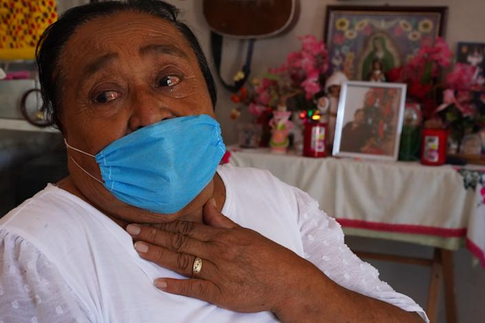 Ausencia Guadalupe Lopez, 73, mourns her daughter, who died of COVID-19.