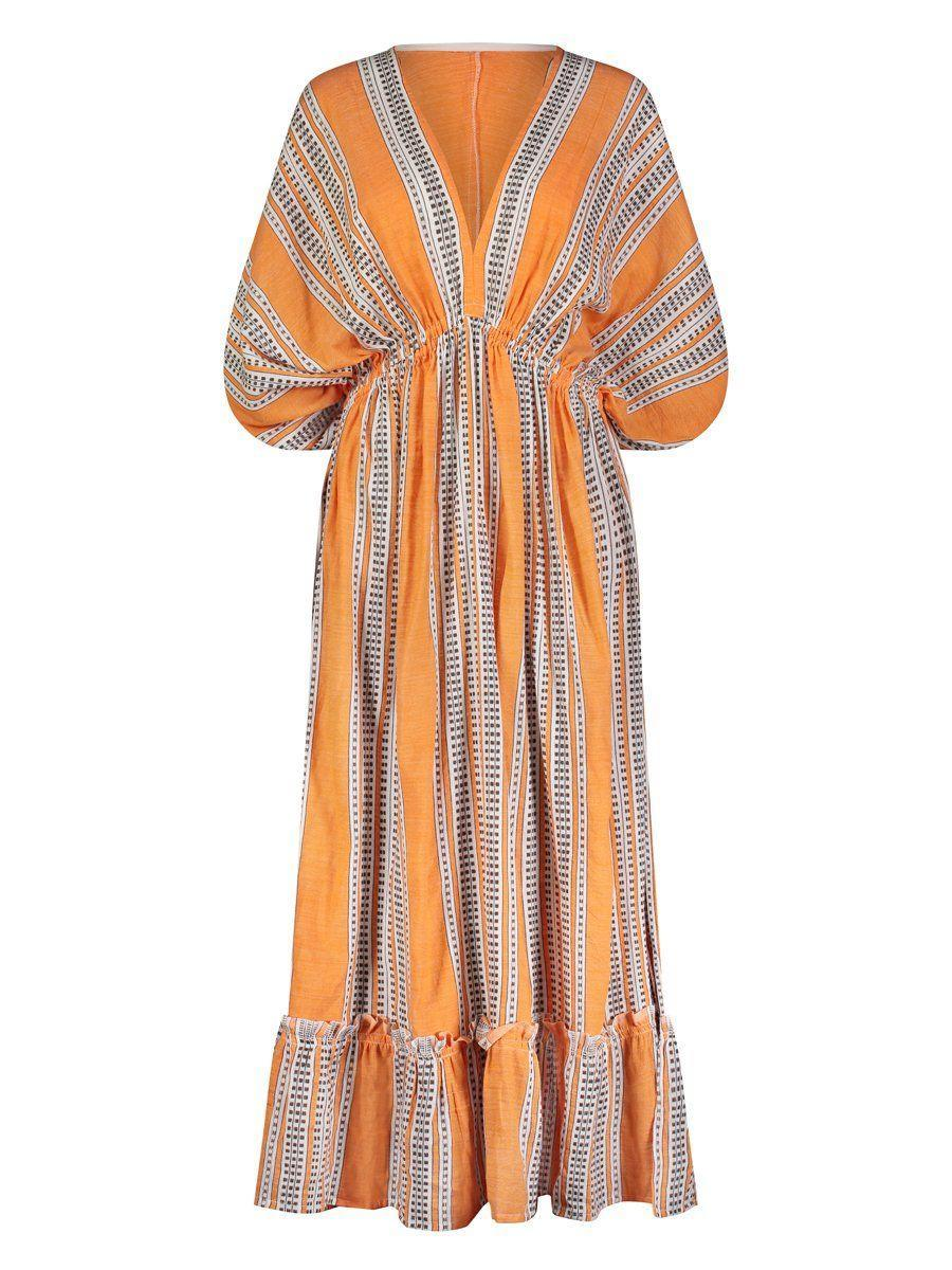 """<p><strong>Lemlem </strong></p><p>lemlem.com</p><p><strong>$495.00</strong></p><p><a href=""""https://www.lemlem.com/collections/dresses/products/amira-orange-plunge-neck-dress"""" rel=""""nofollow noopener"""" target=""""_blank"""" data-ylk=""""slk:Shop Now"""" class=""""link rapid-noclick-resp"""">Shop Now</a></p><p>Reamed sustainably in Ethiopia, this wispy silhouette features a handwoven pattern, accentuated by the marigold hue of the dress. </p>"""