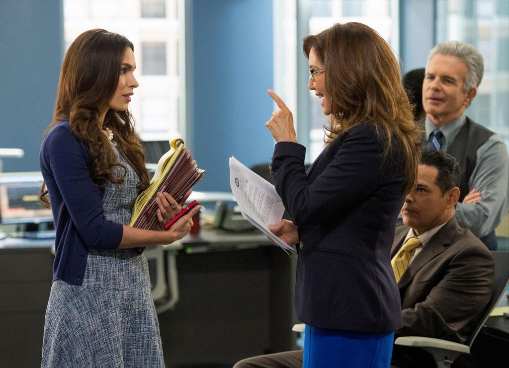 "Nadine Velazquez, Mary McDonnell, Raymond Cruz, and Tony Denison in the ""Major Crimes"" Season 2 Premiere, ""Final Cut."""