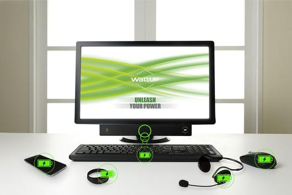 Illustration of Energous WattUp mid-field charging transmitter on multiple devices including a computer keyboard, smartphone, and mouse