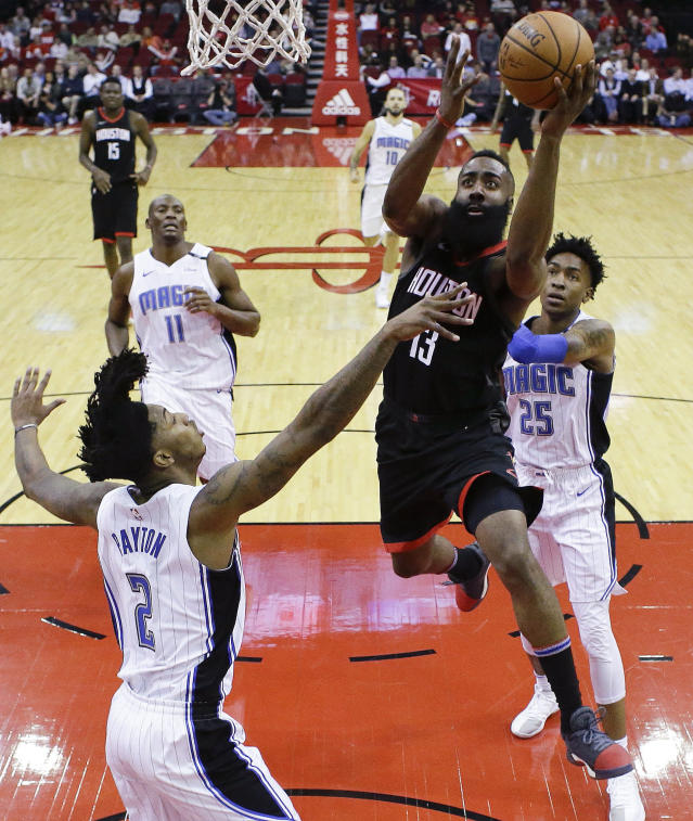 Everybody in a Magic uniform had eyes on James Harden on Tuesday night. None of them could stop him. (AP)