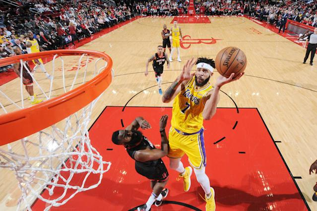 "<a class=""link rapid-noclick-resp"" href=""/nba/players/4480/"" data-ylk=""slk:JaVale McGee"">JaVale McGee</a> shoots against the <a class=""link rapid-noclick-resp"" href=""/nba/teams/hou"" data-ylk=""slk:Houston Rockets"">Houston Rockets</a> during a game on Dec. 13. (Getty Images)"