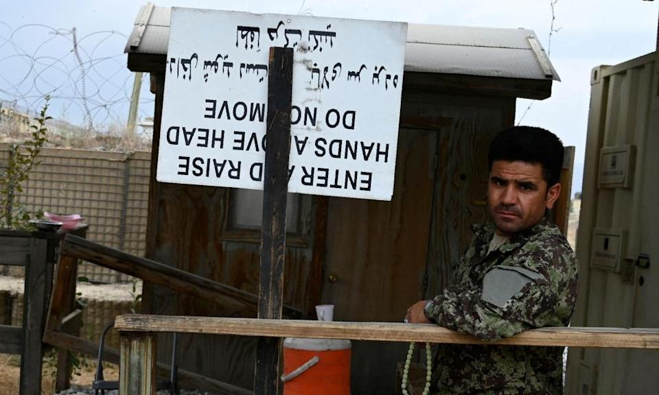 An Afghan National Army soldier guards the Bagram US air base on 5 July, after all US and NATO troops left