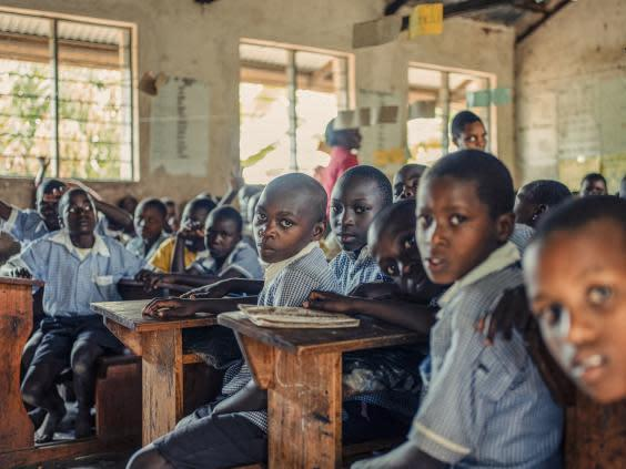 Social distancing measures present additional challenges for already-crowded classrooms in Uganda (Paddy Dowling/EAA)