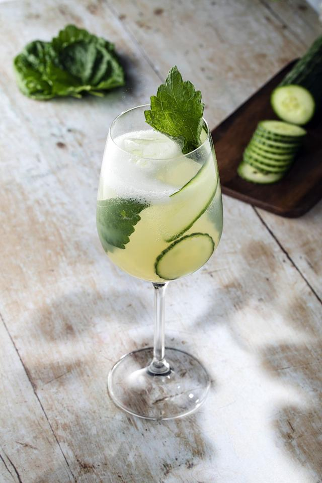 <p>Fill a glass with cubed ice, cucumber ribbons and a sprig of mint, before topping it with 25ml BACARDÍ Carta Blanca, 3 Shiso leaves and 50ml Cloudy apple juice.</p>