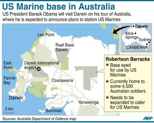 Map showing the Robertson Barracks in Darwin, Australia where US Marines are to be stationed in an escalation of military cooperation between the two countries. President Barack Obama has signalled a pivotal US shift to Asia, pledging not to let Washington's budget crunch compromise his expansive vision and military presence in the region