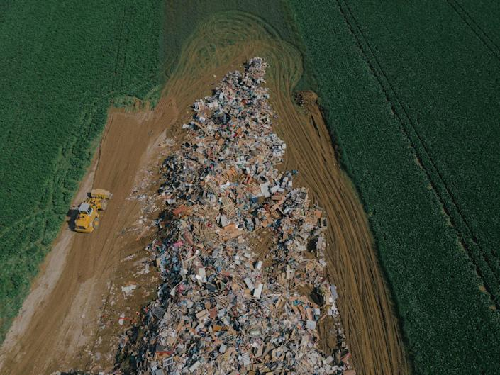 """A temporary collection site for flood debris in Rheinbach, Germany on July 17, 2021.<span class=""""copyright"""">DOCKS Collective</span>"""