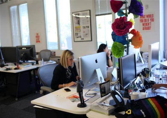 Facebook design chief Kate Aronowitz works at the company's headquarters in Menlo Park, California, March 2, 2012.