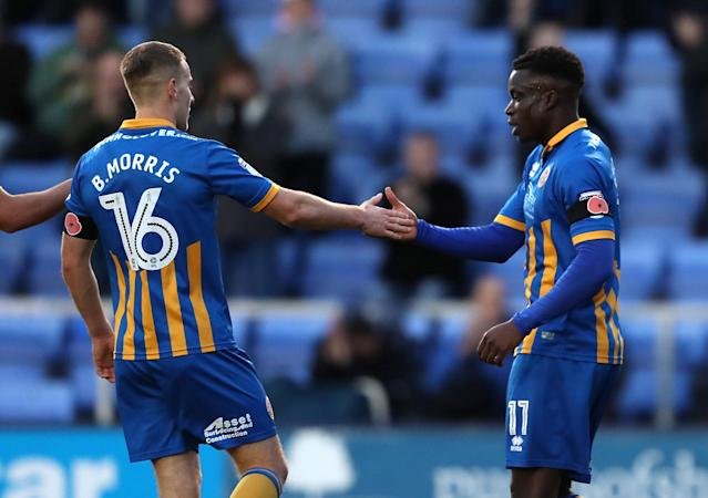 Soccer Football - FA Cup First Round - Shrewsbury Town vs Aldershot Town - New Meadow, Shrewsbury, Britain - November 4, 2017 Shrewsbury TownÕs Arthur Gnahoua (right) celebrates scoring their fourth goal Action Images/John Clifton