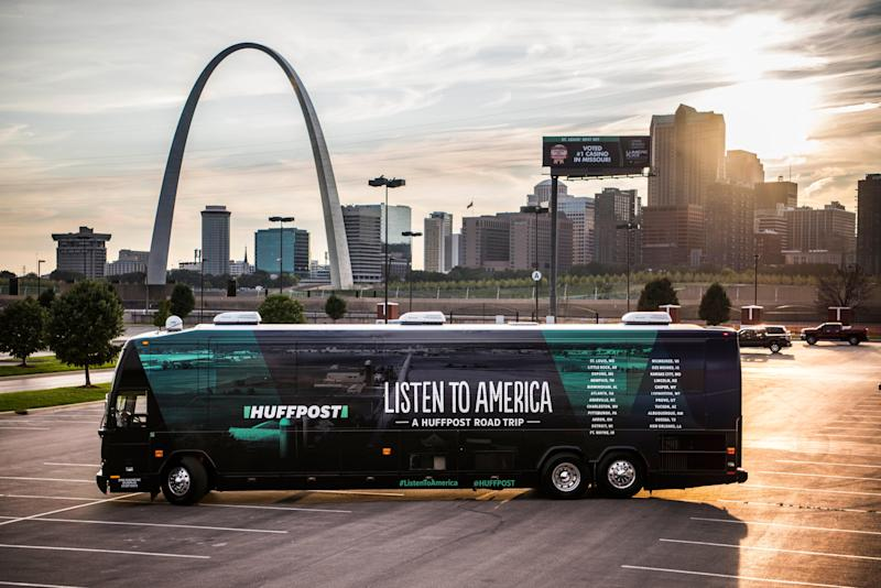 """The HuffPost bus can be seen with the Gateway Arch in the background in Illinois on Sept. 11 as """"Listen to America: A HuffPost Road Trip"""" kicks off. The buswill visit more than 20 cities on ourtour across the country."""
