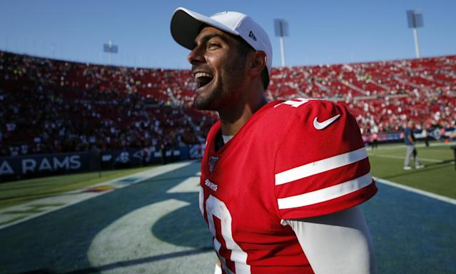 "<span class=""element-image__caption"">49ers quarterback <a class=""link rapid-noclick-resp"" href=""/nfl/players/27590/"" data-ylk=""slk:Jimmy Garoppolo"">Jimmy Garoppolo</a> described a recent meeting in Los Angeles as a 'home game' for his team. <br></span> <span class=""element-image__credit"">Photograph: John Locher/AP</span>"
