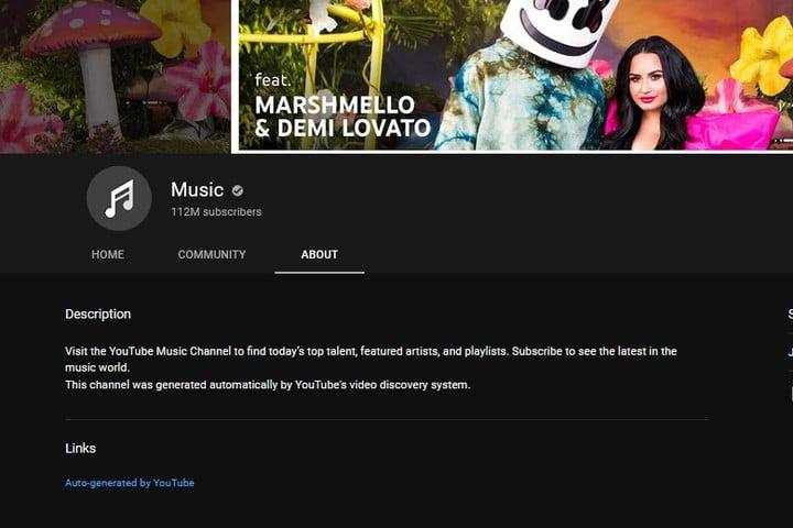 YouTube Music channel screenshot