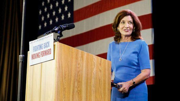 PHOTO: Democratic Lt. Governor Kathy Hochul addresses the crowd after news of her reelection at the midterm election night party in New York, Nov. 6, 2018.  (Caitlin Ochs/Reuters)