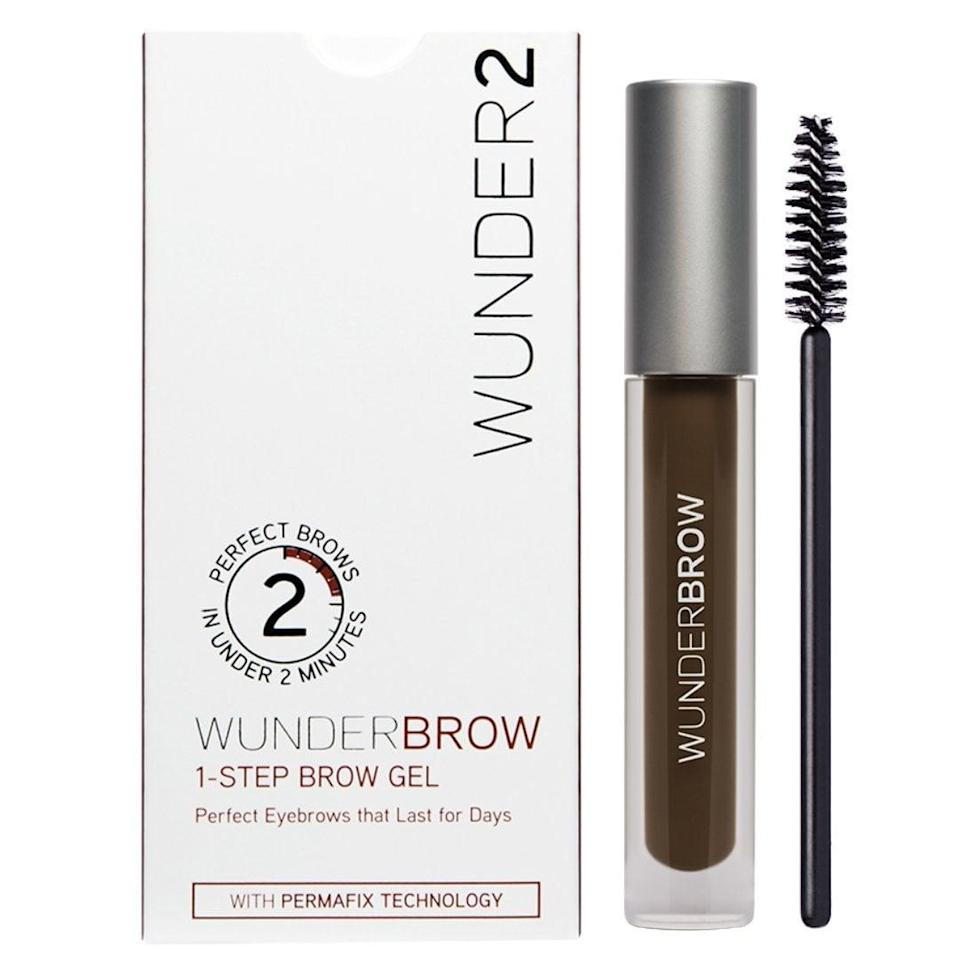 """<p>If you have sparse or overplucked eyebrows, we have discovered <a href=""""https://www.popsugar.co.uk/beauty/Wunderbrow-Any-Good-Beauty-Product-Review-40423482"""" class=""""link rapid-noclick-resp"""" rel=""""nofollow noopener"""" target=""""_blank"""" data-ylk=""""slk:a game-changing product"""">a game-changing product</a>. This <span>Wunder2 Wunderbrow Eyebrow Gel </span> ($22) has gone viral. </p> <p>Wunderbrow comes in a tube that looks like mascara. It comes in five colors: blonde, brunette, auburn, black/brown, and jet black. The formula is a blend of hair-like fibers combined with pigments that are designed to fasten onto skin and hair. Once you apply it, users claim it can last four to five days. It's totally waterproof and budge-proof - the only way you will get it off is with soap or makeup remover.</p>"""