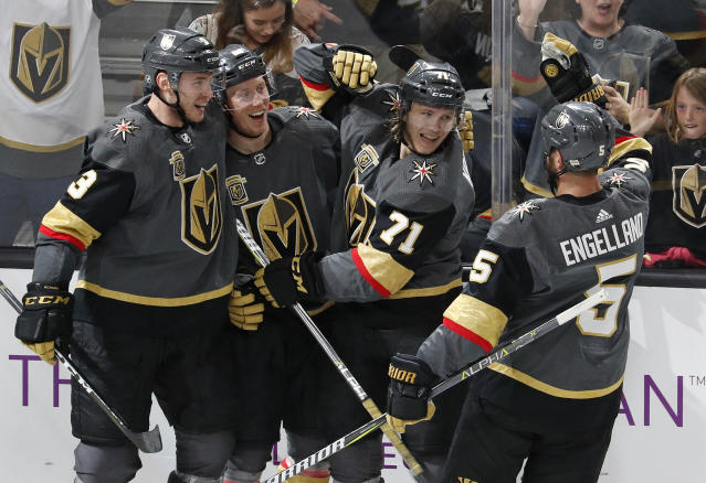 "The <a class=""link rapid-noclick-resp"" href=""/nhl/teams/vgk"" data-ylk=""slk:Vegas Golden Knights"">Vegas Golden Knights</a> have supplied plenty of surprises this season, including <a class=""link rapid-noclick-resp"" href=""/nhl/players/5421/"" data-ylk=""slk:William Karlsson"">William Karlsson</a>'s (71) breakout campaign. (AP Photo/John Locher)"