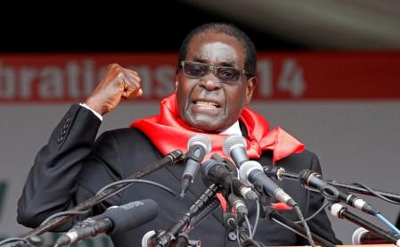 FILE PHOTO:  Zimbabwe President Robert Mugabe addresses supporters during celebrations to mark his 90th birthday in Marondera