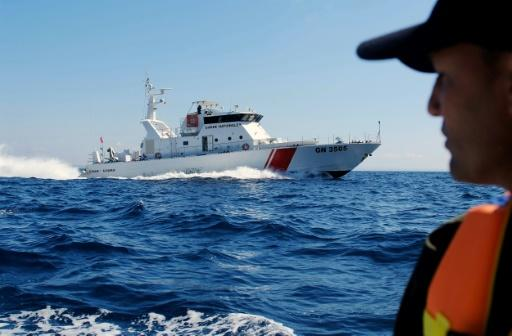 A file picture taken on March 30, 2017 shows the Tunisian coastguard on patrol of the area off the northern town of Bizerte