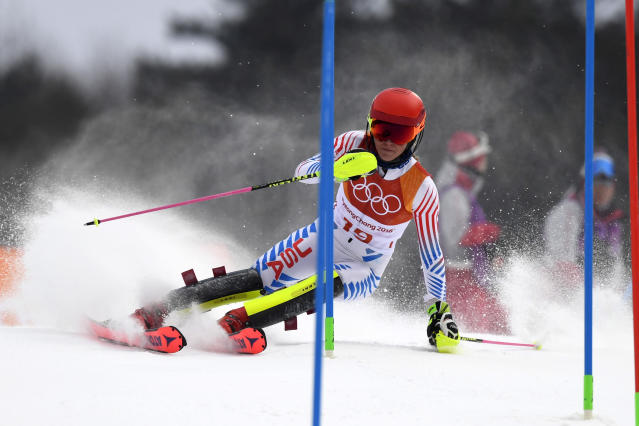 <p>Mikaela Shiffrin of USA in action during the Alpine Skiing Women's Combined at Jeongseon Alpine Centre on February 22, 2018 in Pyeongchang-gun, South Korea. (Photo by Alain Grosclaude/Agence Zoom/Getty Images) </p>
