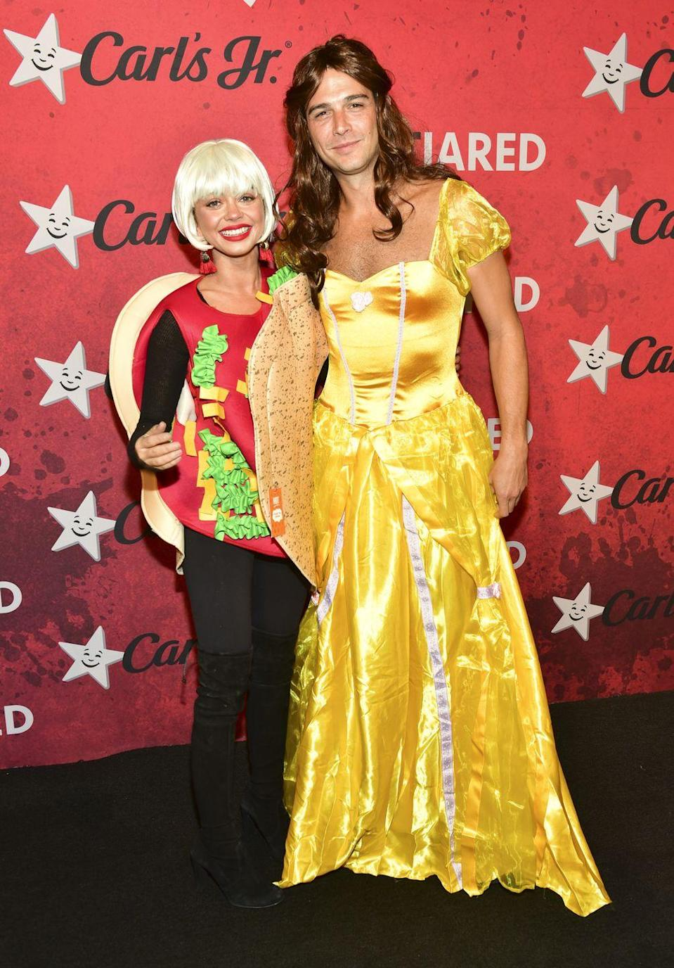 "<p>We would expect nothing less than a pun-filled couples costume from Sarah Hyland and Wells Adams, who went as ""Taco Belle."" Clever!</p>"