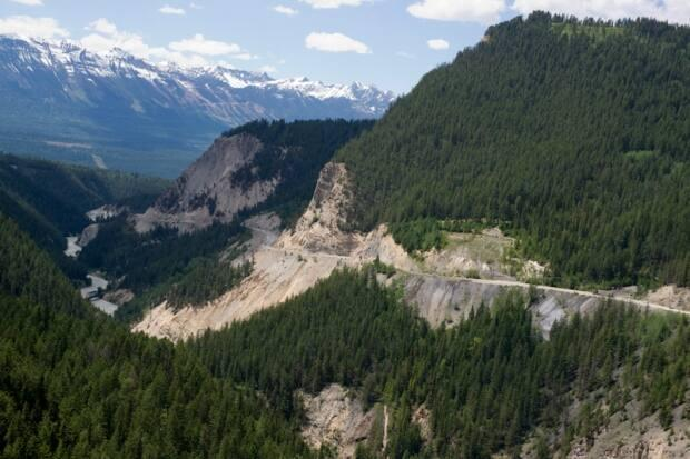 The construction will improve a four-kilometre stretch of highway through Kicking Horse Canyon east of Golden, B.C. — pictured here.