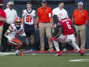 Syracuse wide receiver Sean Riley looks for a way past a Liberty defender during an NCAA college football game in Lynchburg, Va. Saturday, Aug. 31, 2019. (AP Photo/Matt Bell)