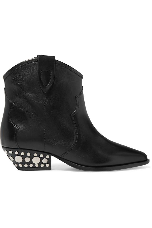 "<p><strong>Isabel Marant</strong> cowboy boots, $780, <a rel=""nofollow"" href=""https://www.net-a-porter.com/us/en/product/1059835/Isabel_Marant/dawyna-studded-leather-ankle-boots"">net-a-porter.com</a>.</p><p><a rel=""nofollow"" href=""https://www.net-a-porter.com/us/en/product/1059835/Isabel_Marant/dawyna-studded-leather-ankle-boots"">SHOP NOW</a></p>"