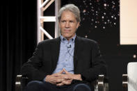 """FILE - David E. Kelley speaks at the """"The Undoing"""" panel during the HBO TCA 2020 Winter Press Tour in Pasadena, Calif. on Jan. 15, 2020. Native American tribes and coalitions are condemning """"Big Sky,"""" a Montana-set ABC drama, for ignoring the history of violence inflicted on Indigenous women and instead making whites the crime victims. The show's producers include David E. Kelley (""""Big Little Lies,"""" """"The Undoing"""") and novelist C.J. Box, whose 2013 book """"The Highway"""" was adapted for the series. (Photo by Willy Sanjuan/Invision/AP, File)"""