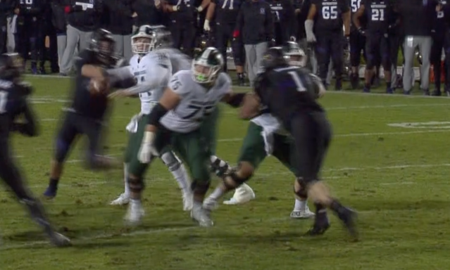 Northwestern's Joe Gaziano strips Michigan State's Brian Lewerke of the ball on Northwestern's game-winning play.