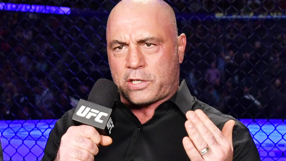 Joe Rogan, pictured during a UFC broadcast in January 2020, says he will not commentate UFC events in the near future.